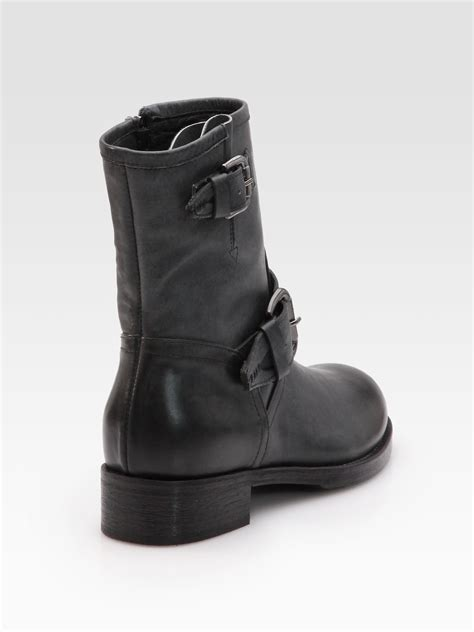 buckle motorcycle boots alberto fermani leather buckle motorcycle boots in black