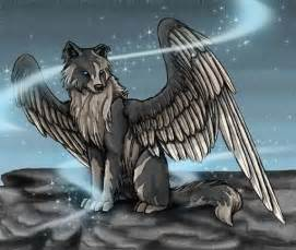 Anime Angel Wolves with Wings