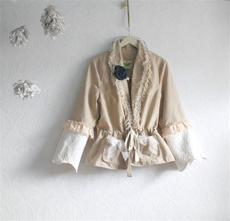 shabby chic plus size clothing shabby chic plus size jacket beige cream lace bell sleeves upcycled women s clothing xxl shawna