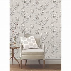GREY WALLPAPER PATTERNED - STARS FLORAL FEATHERS TREES