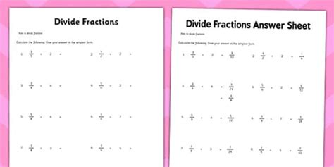 ks dividing fractions worksheet year  resource