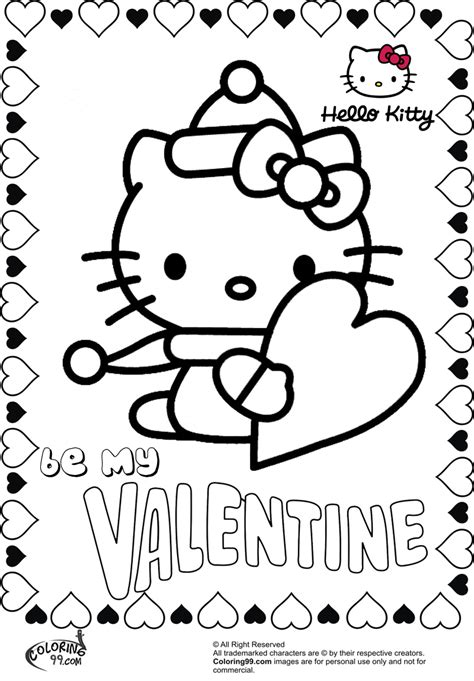 kitty valentines coloring pages getcoloringpagescom