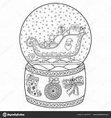 Globe Sneeuw Kleurplaat Winter Volwassenen Glas Santa Speelgoed Stockillustratie Decoratief Boog Geschenk Bal Kous Kerstman Boek Patroon Slee Kinderen Voor sketch template