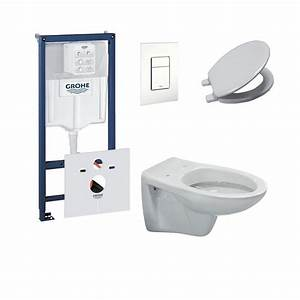 Toilettes Suspendues Grohe : grohe pack toilette suspendue ideal standard complet touche blanc banio ~ Nature-et-papiers.com Idées de Décoration