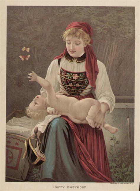 mother child infant baby butterfly vintage  original