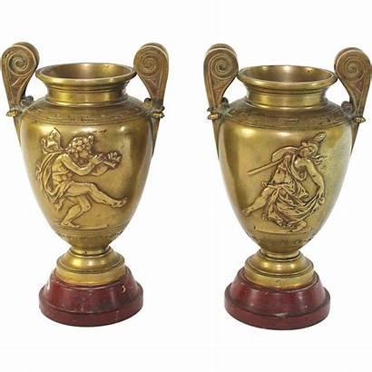 Bronze Urns Antique Base Marble Urn Pair