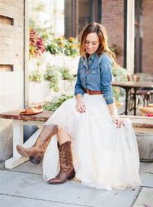 Sydne-Style-what-to-wear-to-a-western-wedding-tulle-skirt-denim-shirt-brides-cowboy-boots ...