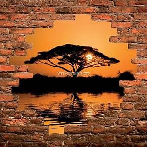 Mur Trompe L Oeil : sticker mural trompe l il mur de pierre coucher de soleil en afrique stickers muraux deco ~ Melissatoandfro.com Idées de Décoration