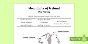 mountains  ireland map worksheet activity sheet