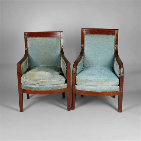 Two Armchairs by Two Mahogany Bergere Armchairs Empire Period Expertissim