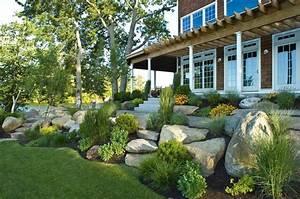 Boulders In Garden Design Rock Front Yard Landscape Beach Style With Boulders