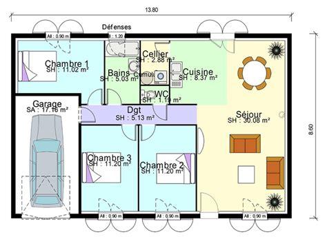 plan de masse de maison avec 3 chambres salon cuisine et