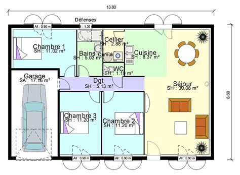 plans maisons plain pied 3 chambres plan de masse de maison avec 3 chambres salon cuisine et