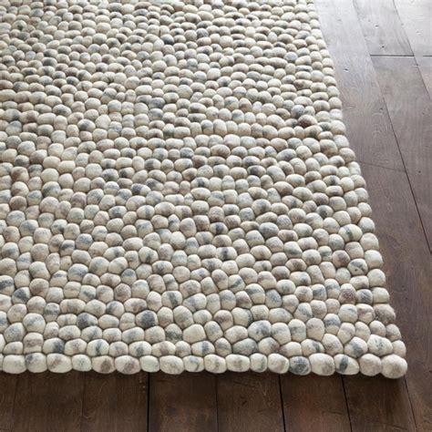 light grey wool stones wool ball rug in light gray by chandra rugs