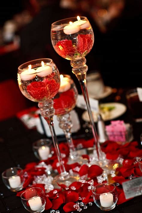 Red Black White Center Pieces Candle Holders On Mirrors