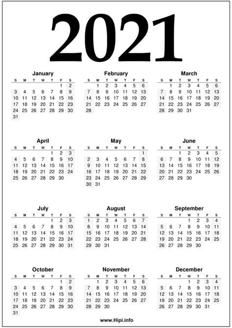 year  calendar printable black  white hipi