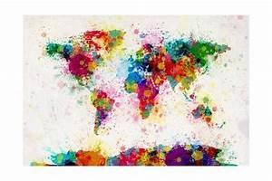 Papier Peint Planisphère : planisph re par projection de peinture en couleur affiches par michael tompsett sur ~ Teatrodelosmanantiales.com Idées de Décoration