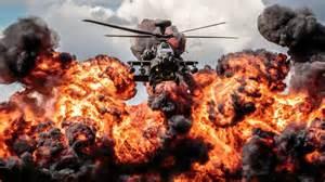 Bambi Artwork by Helicopter Apache Explosion Fire Hd Desktop Wallpaper