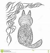 Coloring Cat Pattern Abstract sketch template