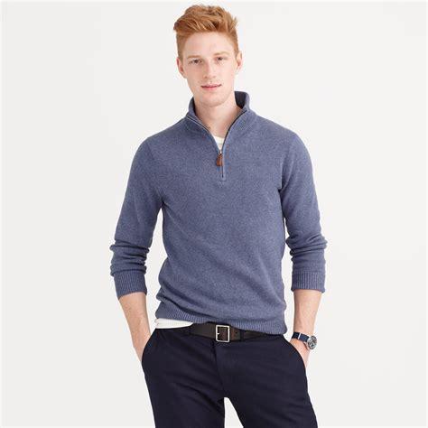 mens half zip sweater j crew cotton half zip sweater in blue for