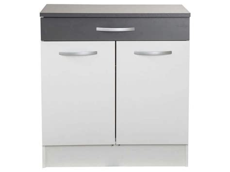 meuble bas 80 cm 2 portes 1 tiroir woody gris