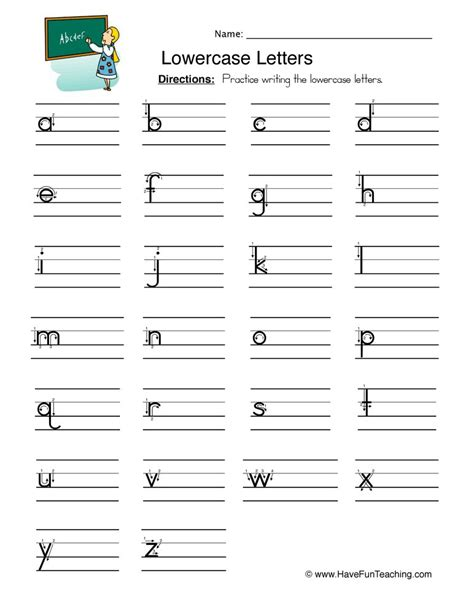 lowercase letters writing worksheet teaching