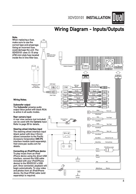 wiring diagram inputs outputs xdvd3101 installation dual electronics xdvd3101 user manual