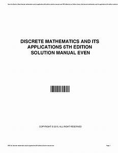Discrete Math Its Applications 6th Edition Solutions Pdf