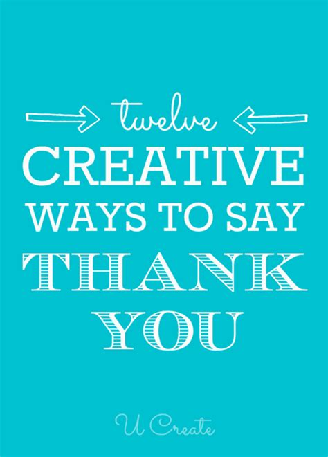 Creative Ways To Say Thank You  U Create