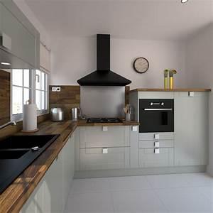 Evier Cuisine Granit : cuisine quip e grise bois moderne filipen gris mat ~ Premium-room.com Idées de Décoration