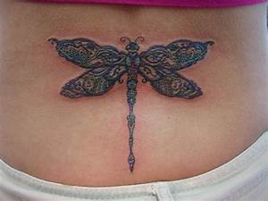 Colorful Dragonfly Tattoo On Lower Back