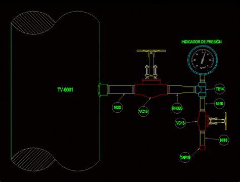 pressure gauge type   dwg elevation  autocad