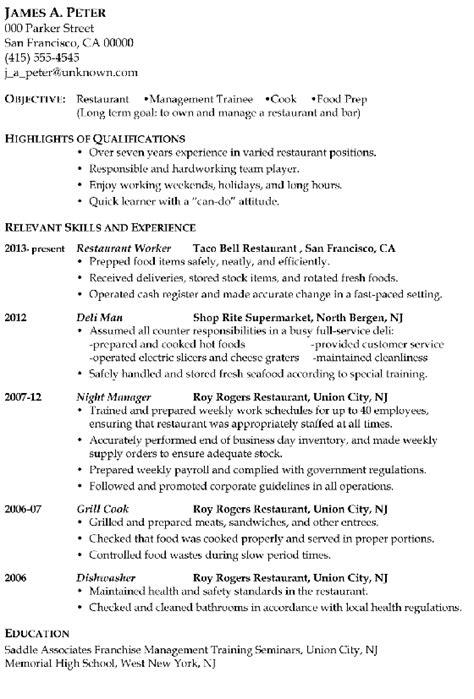 resume sample restaurant management trainee  cook