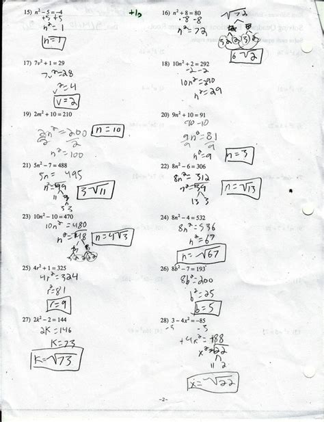 solving quadratic equations with square roots worksheet answers tessshebaylo