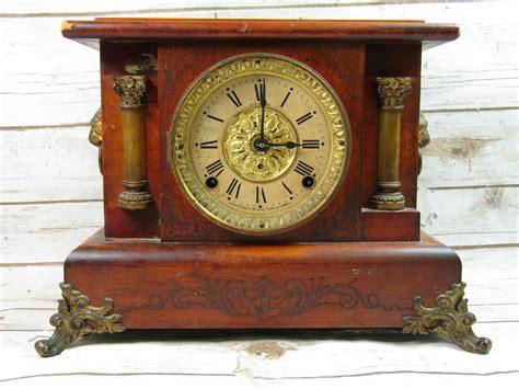 Antique Seth Thomas Adamantine Mantel Clock Lion Head