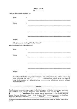 Contoh Surat Kuasa Pemotongan Gaji Karyawan - Kumpulan Contoh Surat dan Soal Terlengkap