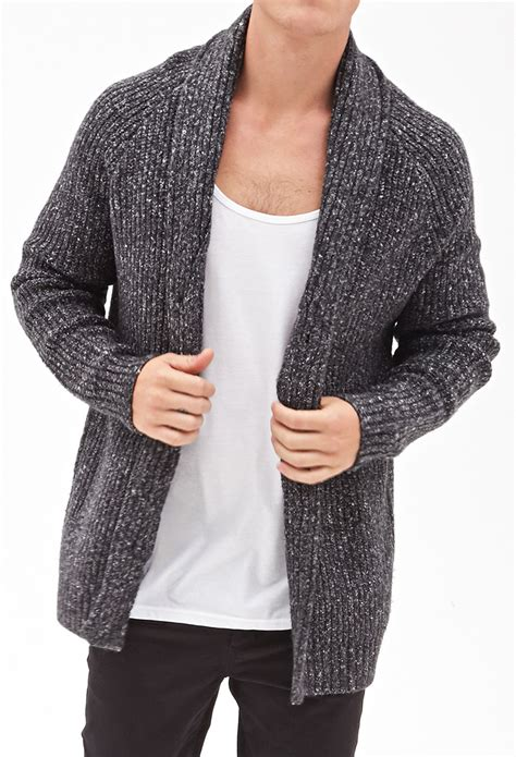 cable sweater mens forever 21 cable knit cardigan in gray for lyst