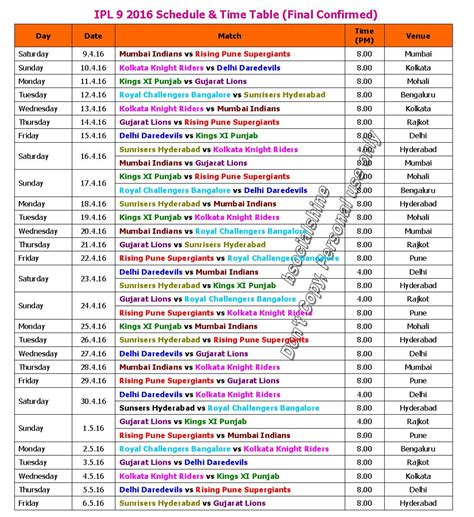 learn new things ipl 9 2016 schedule time table