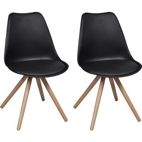 2x eames inspired faux leather dining chairs black buy