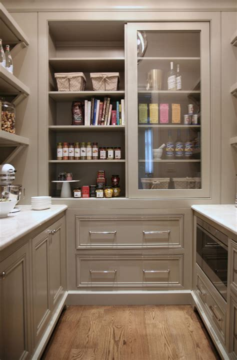 warm white kitchen design gray butler s pantry home bunch interior design ideas - Kitchen Pantry Cabinet Ideas