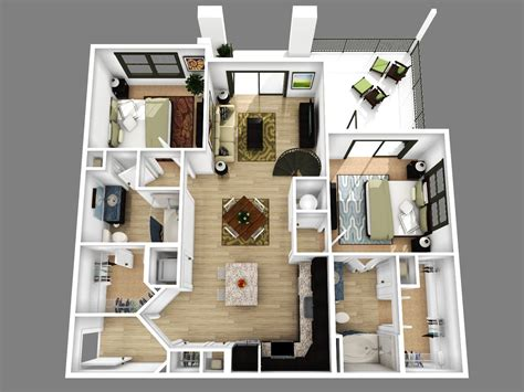 Decorating Ideas For 2 Bedroom Apartment by 2 Bedroom Apartment Floor Plans 3d Amazing Decoration