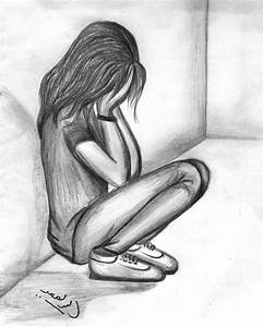 Pencil Easy Sketches Of Lonely Sad Girl - Drawing Of Sketch