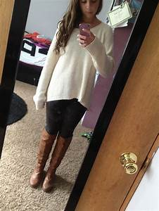 Baggy sweater, yoga pants, and boots(: perfect fall outfit ...