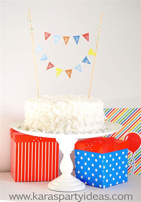 Karas Party Ideas Free Mini Cake Pennant Bunting For