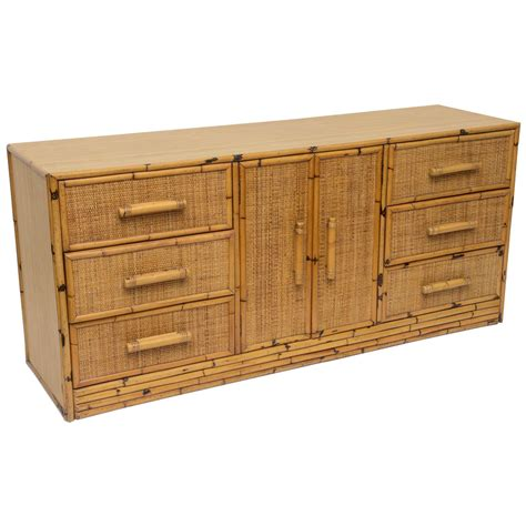 Wicker Credenza - rattan dresser or credenza with six drawers at 1stdibs