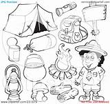 Camping Gear Coloring Pages Clipart Outlined Collage Digital Illustration Royalty Visekart Rf Background sketch template