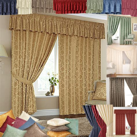 cheap lined ready made curtains matching pelmets tie