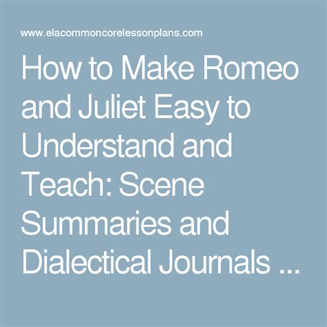 how to make romeo and juliet easy to understand and teach