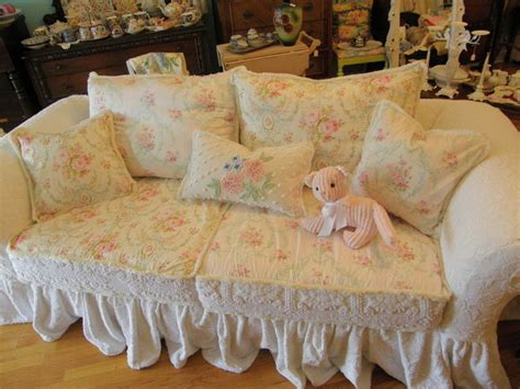 shabby chic sofa shabby chic ruffle slipcovered sofa chenille bedspread white roses eclectic sofas new york
