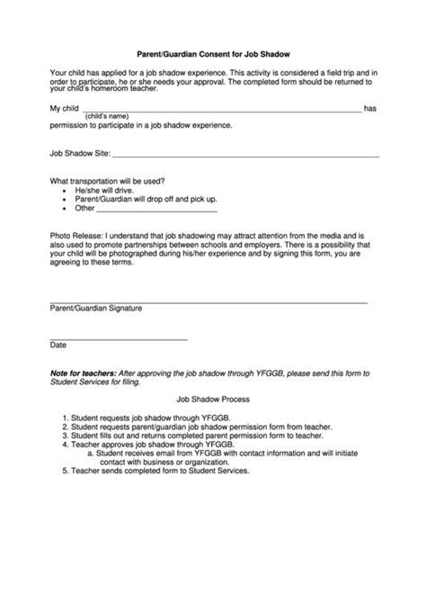 parentguardian consent  job shadow printable